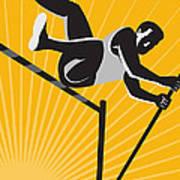 Track And Field Athlete Pole Vault High Jump Retro Art Print by Aloysius Patrimonio