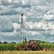 Tractor And Old Windmill Art Print
