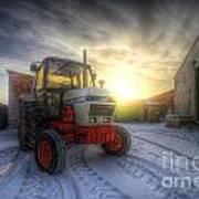 Tractor Sunrise Art Print