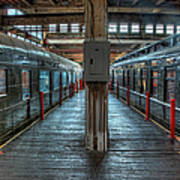 Trains - Two Rail Cars In Roundhouse Art Print
