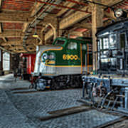 Trains - Engines Railcars Caboose In The Roundhouse Print by Dan Carmichael