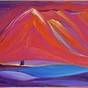 Travelers Pink Mountains Art Print