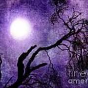Tree Branch In Purple Moonlight Art Print