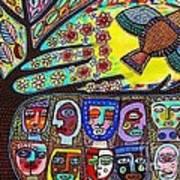 Tree Of Life People Blue Bird Art Print