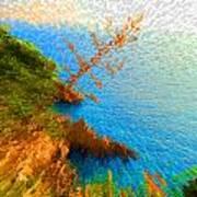 Tree On Rock In Dubrovnik Croatia Art Print