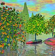 Trees On Rocks In A Lake Art Print