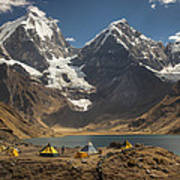 Trekkers Camp Near Carhuacocha Lake Art Print