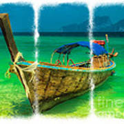 Triptych Longboat Art Print