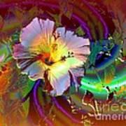 Tropical Hibiscus Explosion Art Print by Doris Wood