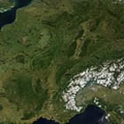 True-color Satellite View Of France Art Print