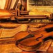 Trumpet And Stradivarius At Rest - Violin - Nostalgia - Vintage - Music -instruments  Art Print by Lee Dos Santos