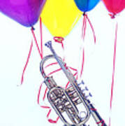 Trumpet Lifted By Balloons Art Print by Garry Gay