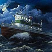 Tug Boat On Rough Water Art Print by Virginia Sonntag