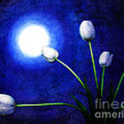 Tulips In Blue Moonlight Art Print