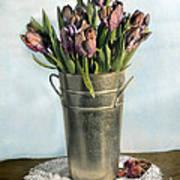 Tulips In Metal Vase Art Print
