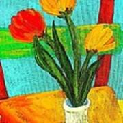 Tulips On A Chair Art Print
