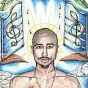Tupac In Heaven Art Print by Debbie DeWitt