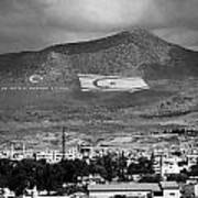 Turkish Symbols And Turkish Cypriot Flags In Besparnak Mountain Overlooking Nicosia Cyprus Art Print