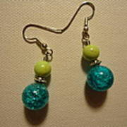 Turquoise And Apple Drop Earrings Art Print
