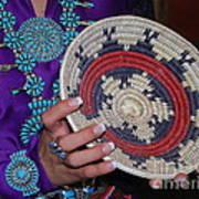 Turquoise And Navajo Wedding Basket Art Print by Anne Gordon