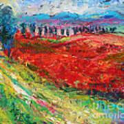 Tuscany Italy Landscape Poppy Field Art Print