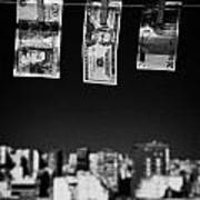 Twenty Pounds Dollars Euro Banknotes Hanging On A Washing Line With Blue Sky Over City Skyline Art Print