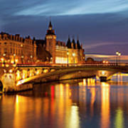 Twilight Over River Seine And Conciergerie Art Print