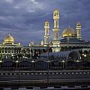 Twilight View Of An Illuminated Mosque Art Print