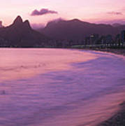 Twilight View Of Ipanema Beach And Two Art Print by Michael Melford