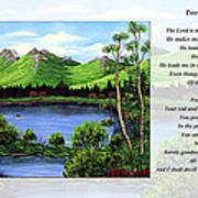 Twin Ponds And 23 Psalm On White Art Print