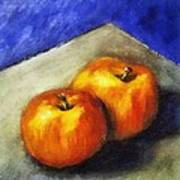 Two Apples With Blue Art Print
