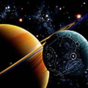 Two Artificial Moons Travelling Art Print