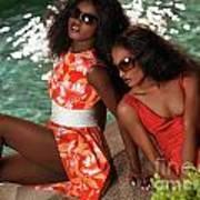 Two Beautiful Women In Dresses At The Pool Art Print by Oleksiy Maksymenko