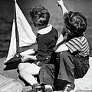 Two Boys Playing W/sailboats Art Print