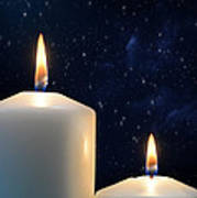 Two Candles With Star Of Bethlehem  Art Print