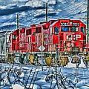 Two Cp Rail Engines Hdr Art Print