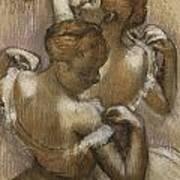 Two Dancers Adjusting Their Shoulder Straps Art Print