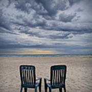 Two Deck Chairs At Sunrise On The Beach Art Print