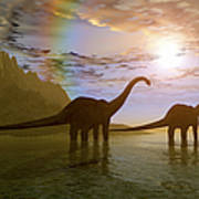 Two Diplodocus Dinosaurs Wade Art Print
