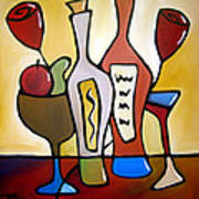 Two-fer - Abstract Wine Art By Fidostudio Art Print by Tom Fedro - Fidostudio