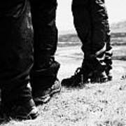 two hikers hillwalkers in the highlands of Scotland UK Art Print