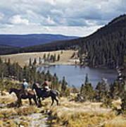Two Horsemen Ride Above Pecos Baldy Art Print