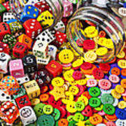Two Jars Dice And Buttons Art Print