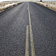 Two Lane Road Between Fenced Fields Art Print by Jetta Productions, Inc