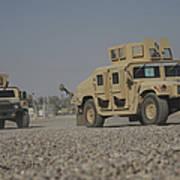 Two M1114 Humvee Vehicles At Camp Taji Art Print
