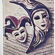 Two Masks On Sheet Music Art Print