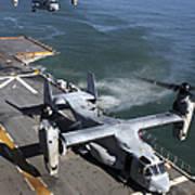 Two Mv-22 Ospreys Land On The Flight Art Print