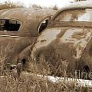 Two Old Rear Ends-sepia Art Print