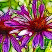 Two Purple Daisy's Fractal Art Print