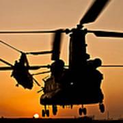 Two Royal Air Force Ch-47 Chinooks Take Art Print